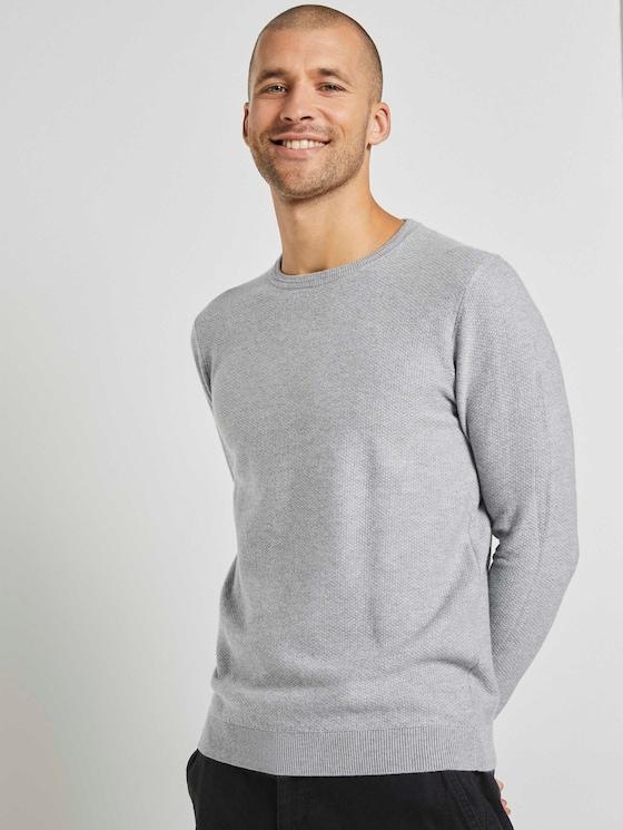 Weicher Pullover mit Struktur - Männer - Light Soft Grey Melange - 5 - TOM TAILOR