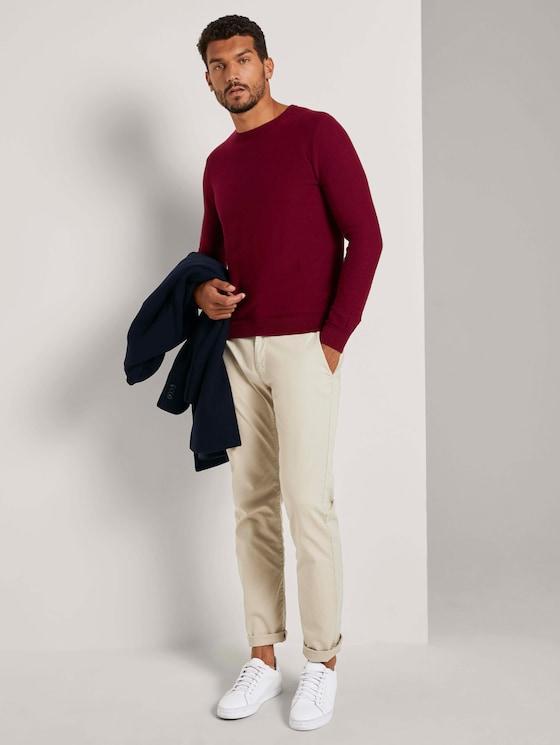 Weicher Pullover mit Struktur - Männer - wine red melange - 3 - TOM TAILOR