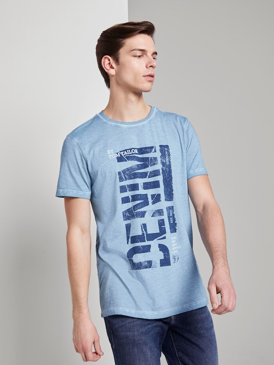Indigo T-Shirt mit Print - Männer - Light Blue Indigo - 5 - TOM TAILOR Denim