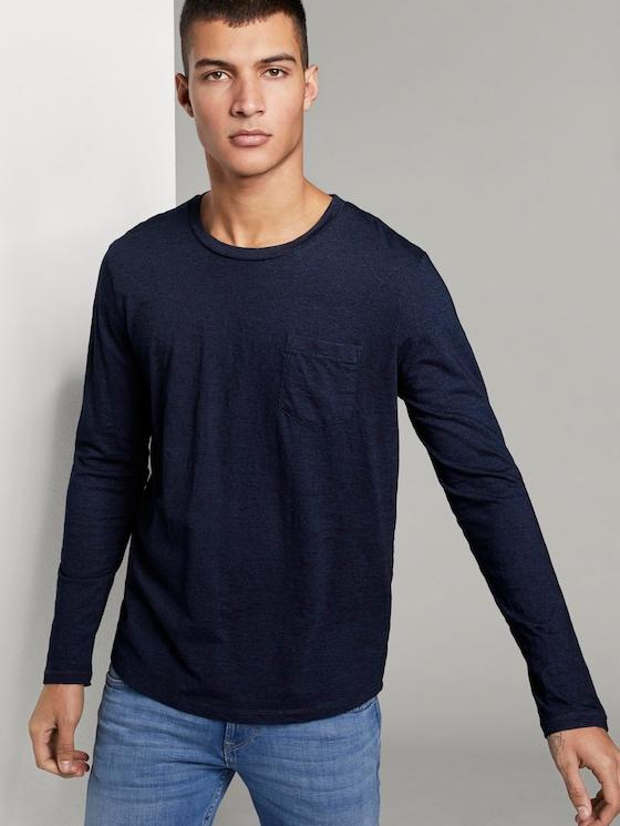 Indigo Langarmshirt mit Brusttasche - Männer - Used Dark Stone Blue Denim - 5 - TOM TAILOR Denim