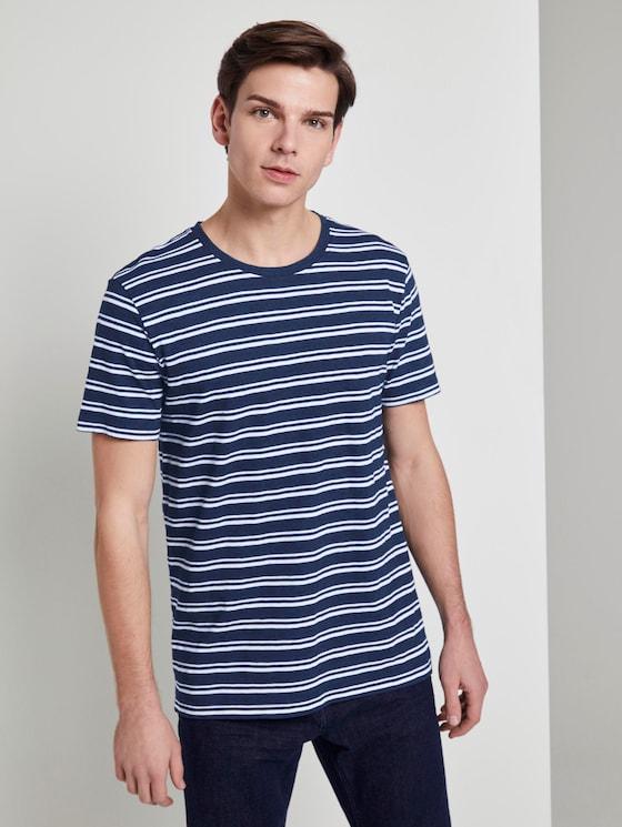 Indigo T-Shirt mit Streifenmuster - Männer - raw indigo stripe - 5 - TOM TAILOR Denim