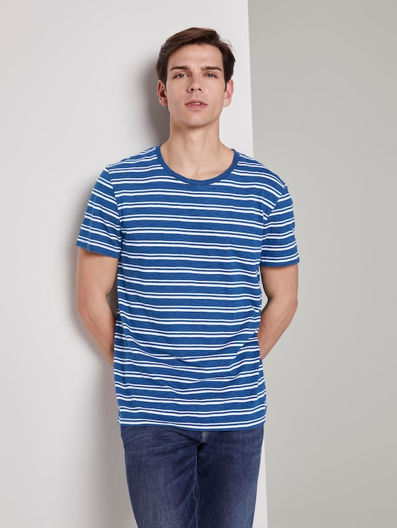 Indigo striped T-shirt - Men - mid blue indigo stripe - 5 - TOM TAILOR Denim