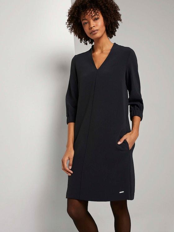 Kurzes Kleid mit elastischem Ärmelbund - Frauen - Deep Black - 5 - Mine to five