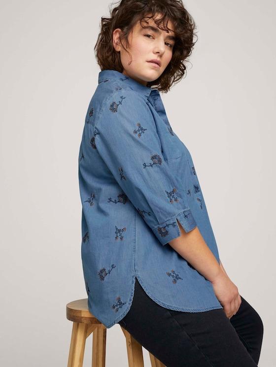 Jeansbluse mit Stickereien - Frauen - paisley embroidery design - 5 - My True Me