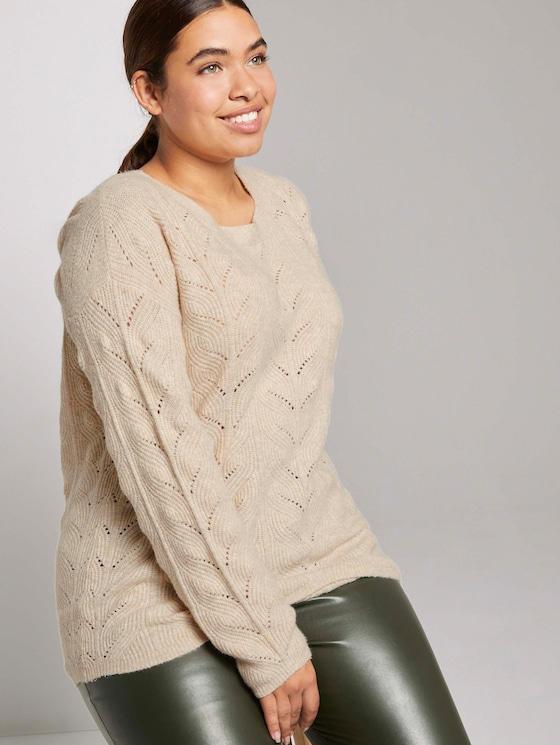Curvy - Pullover mit Zopfstrickmuster - Frauen - sand dune melange - 5 - My True Me