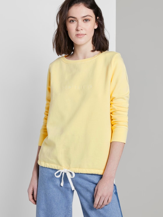 Sweatshirt with a letter print - Women - amazing yellow - 5 - TOM TAILOR