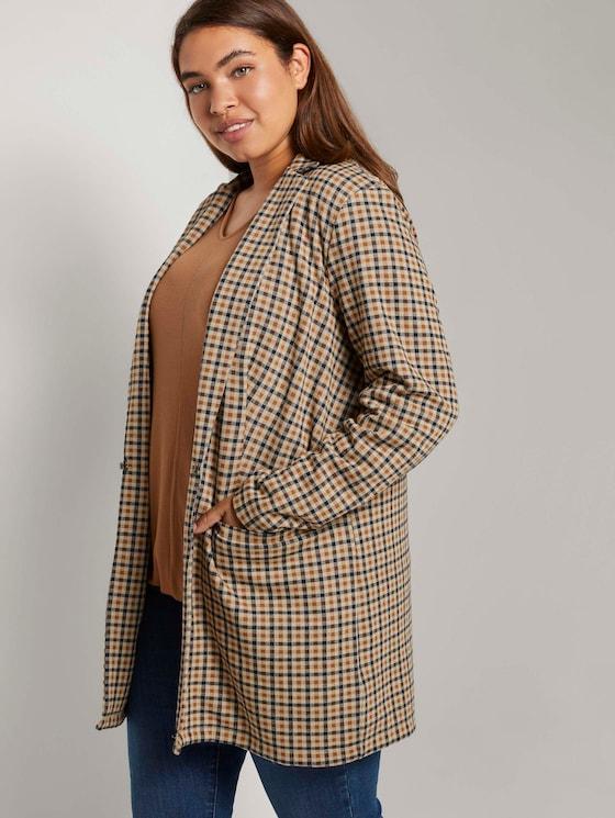 Curvy - Langer Blazer im Karomuster - Frauen - beige brown check design - 5 - My True Me