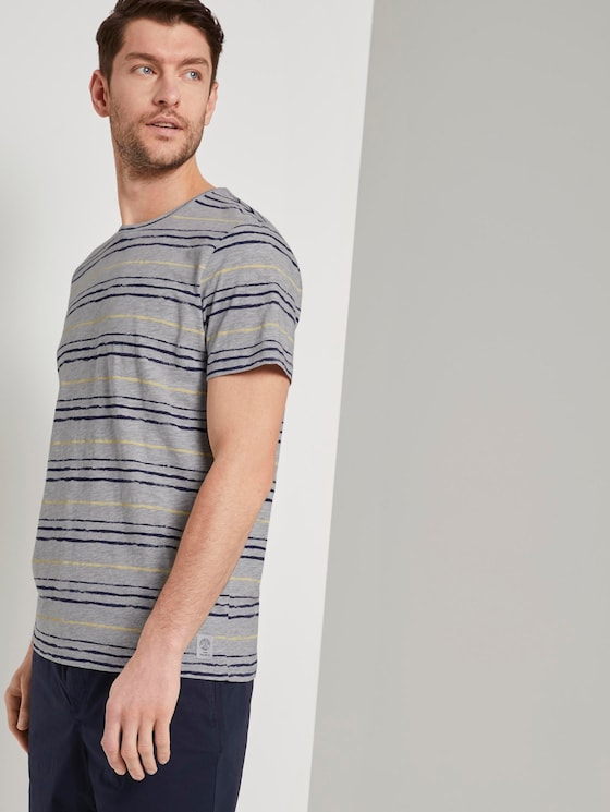 T-Shirt mit Streifenprint - Männer - grey blue watercolour stripe - 5 - TOM TAILOR