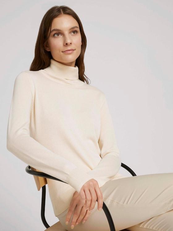 Rollkragenpullover - Frauen - soft creme beige - 5 - TOM TAILOR