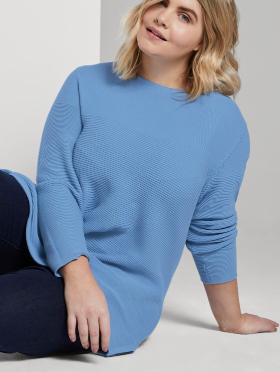 Weicher Ottoman Pullover - Frauen - Light Blue - 5 - My True Me