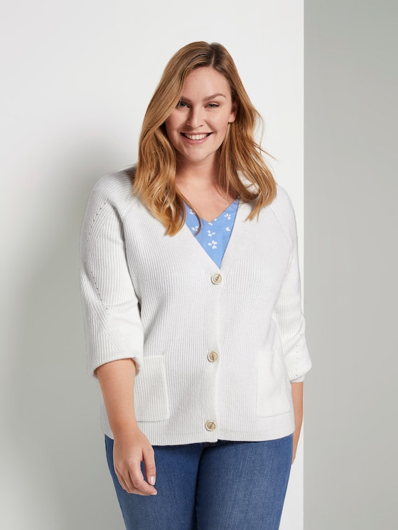 Kurzer Cardigan mit Strickmuster - Frauen - Whisper White - 5 - My True Me