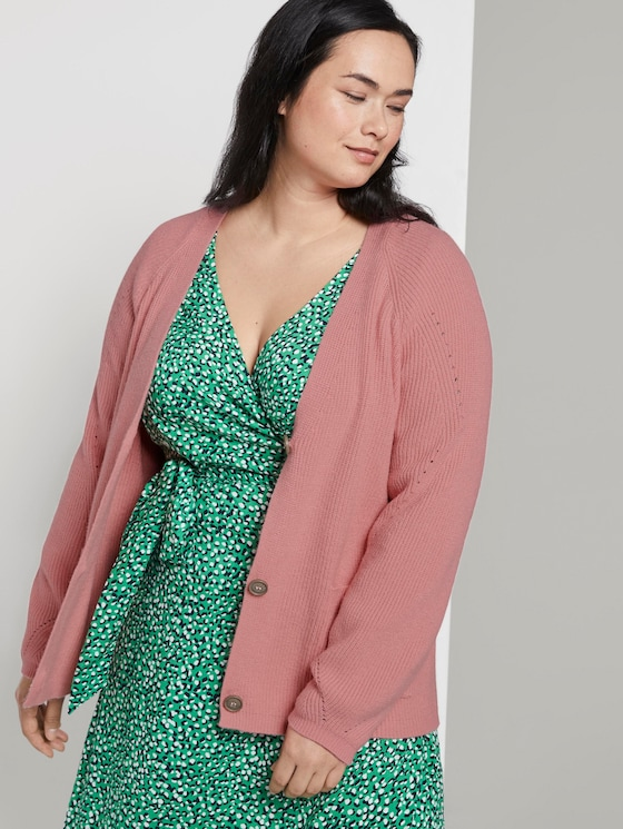 Kurzer Cardigan mit Strickmuster - Frauen - bubble gum pink - 5 - My True Me