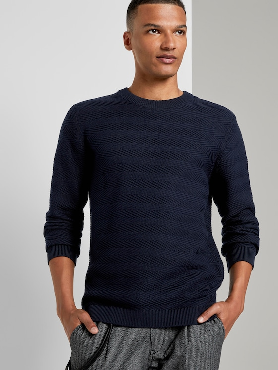 Pullover mit Zick-Zack-Struktur - Männer - Sky Captain Blue - 5 - TOM TAILOR Denim