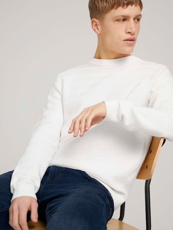Pullover mit Zick-Zack-Struktur - Männer - Wool White - 5 - TOM TAILOR Denim