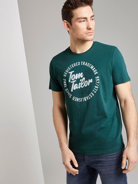 T-shirt with a logo print - Men - Stroke Green - 5 - TOM TAILOR