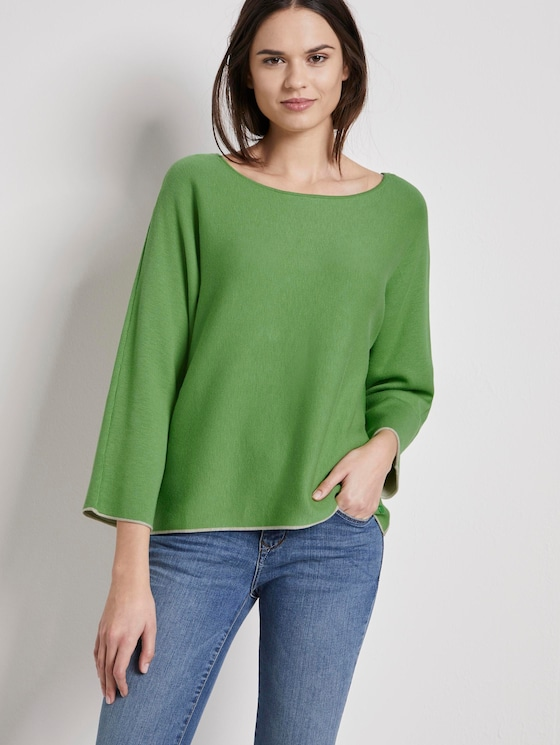 Pullover with slight bat sleeves - Women - sundried turf green - 5 - TOM TAILOR