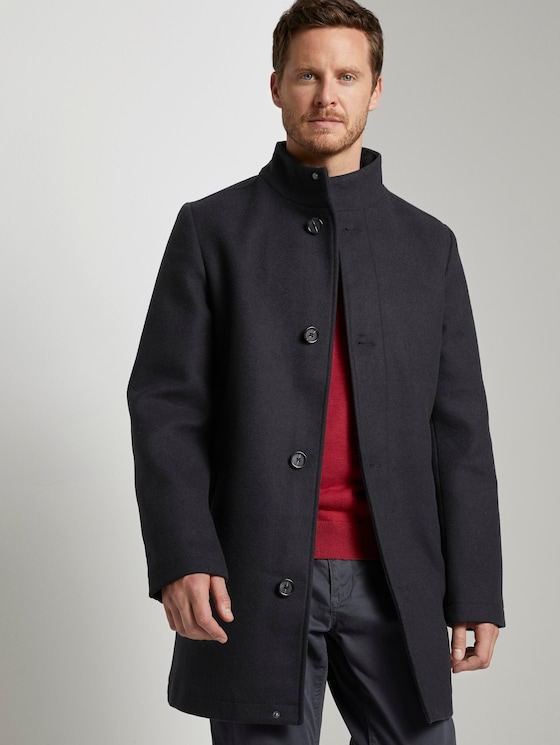 Modern coat with a stand-up collar - Men - Sky Captain Blue - 5 - TOM TAILOR