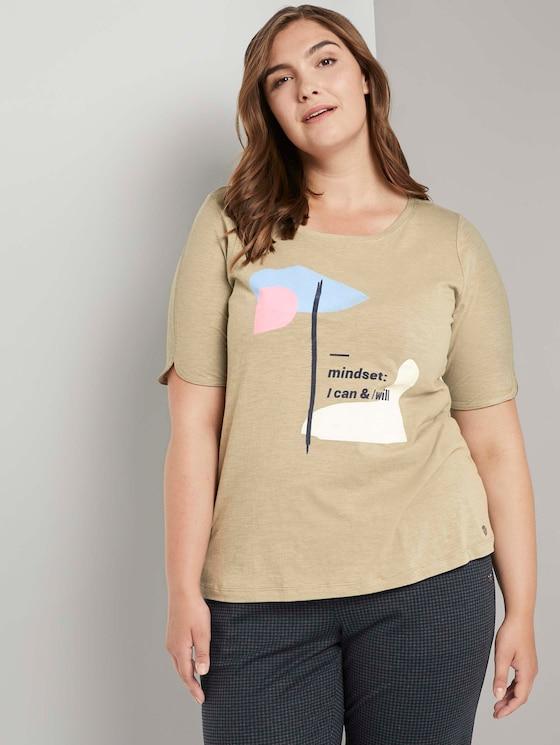 Curvy - T-Shirt mit Artwork - Frauen - New Light Khaki - 5 - My True Me