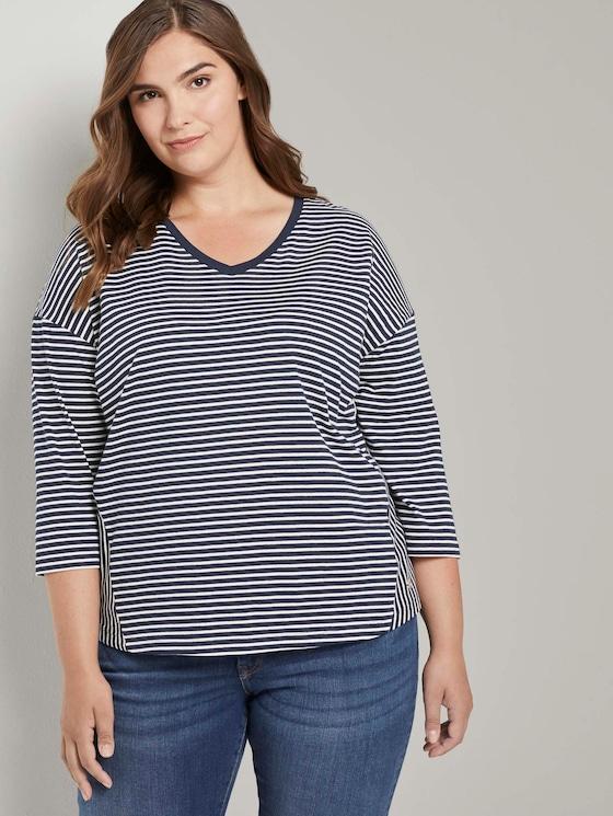 Gestreiftes Shirt mit 3/4-Arm - Frauen - navy ecru horizontal stripe - 5 - My True Me