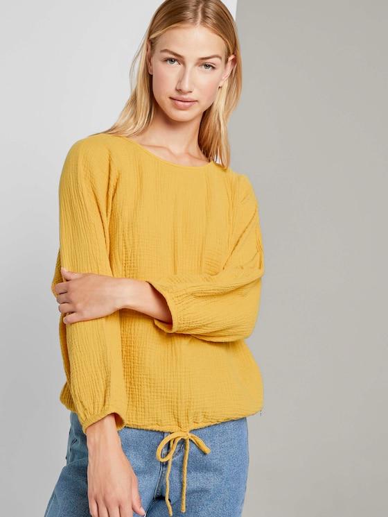 Strukturierte Bluse mit Tunnelzug - Frauen - Indian Spice Yellow - 5 - TOM TAILOR Denim
