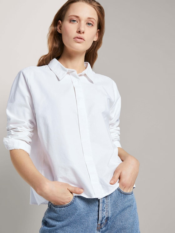 Katoenen overhemd - Vrouwen - Off White - 5 - TOM TAILOR Denim
