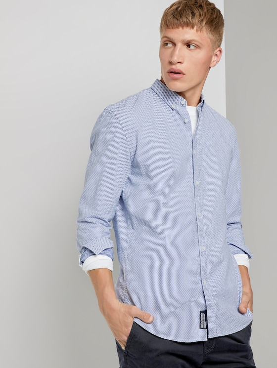 Fein gemustertes Hemd - Männer - light blue white dobby stripe - 5 - TOM TAILOR Denim