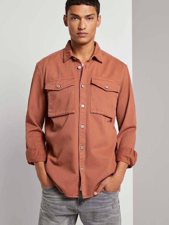 Lockeres Hemd mit Brusttaschen - Männer - Goji Orange - 5 - TOM TAILOR Denim