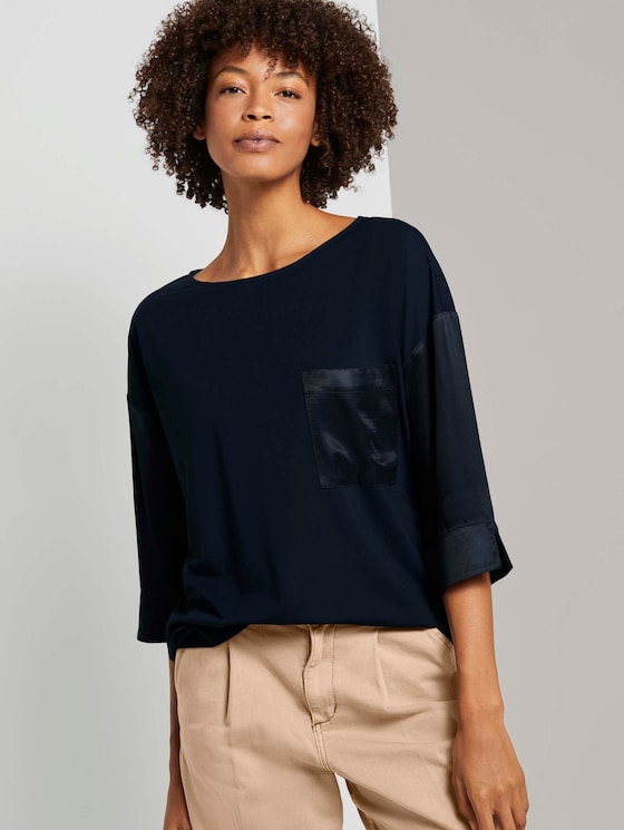 Shirt im Materialmix - Frauen - Sky Captain Blue - 5 - Mine to five
