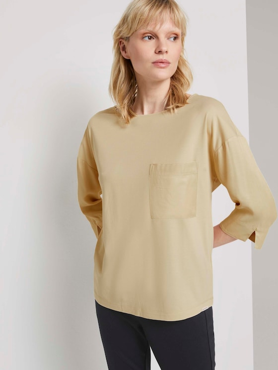 Shirt im Materialmix - Frauen - light soft sand - 5 - Mine to five