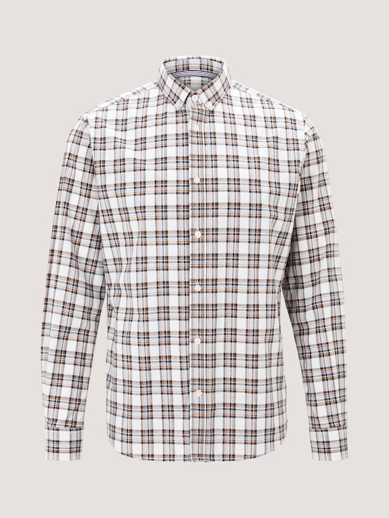 Kariertes Hemd - Männer - off white blue check - 7 - TOM TAILOR