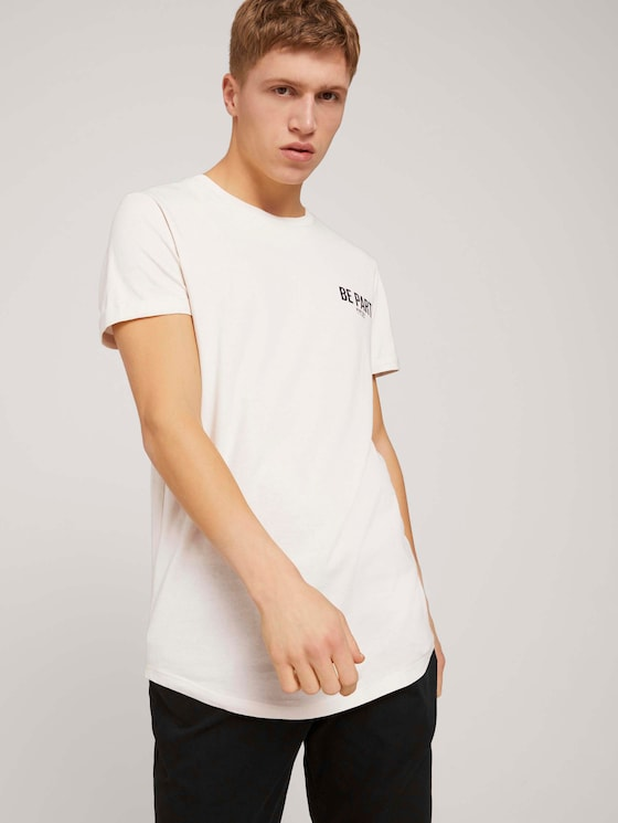 T-shirt with a chest print made with organic cotton  - Men - Soft Beige Solid - 5 - TOM TAILOR Denim