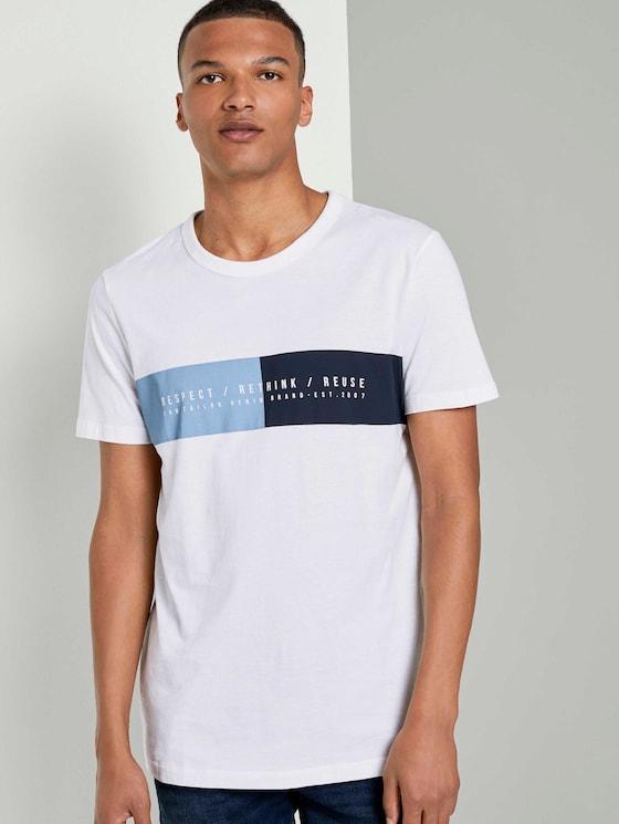 T-Shirt mit Brustprint - Männer - White - 5 - TOM TAILOR Denim