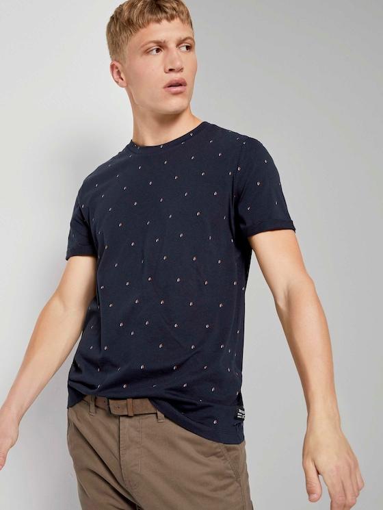 Print T-Shirt - Männer - navy split drop print - 5 - TOM TAILOR Denim