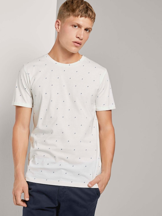 Print T-Shirt - Männer - white split drop print - 5 - TOM TAILOR Denim