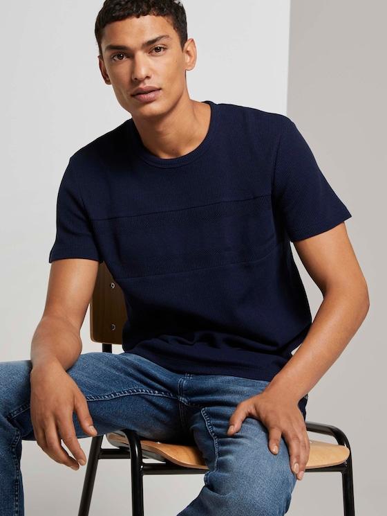 T-Shirt mit Rippeinsatz - Männer - Sky Captain Blue - 5 - TOM TAILOR Denim