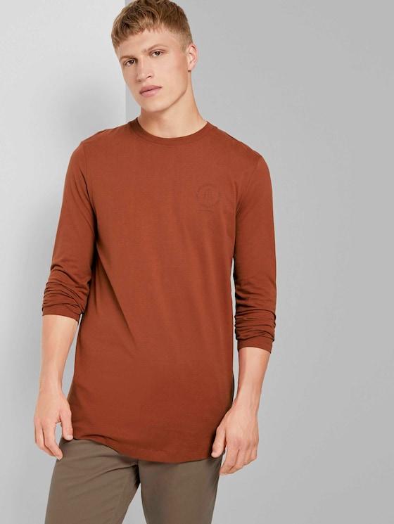 Langarmshirt mit kleinem Print - Männer - Goji Orange - 5 - TOM TAILOR Denim