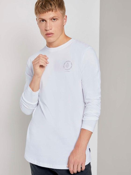 Langarmshirt mit kleinem Print - Männer - White - 5 - TOM TAILOR Denim