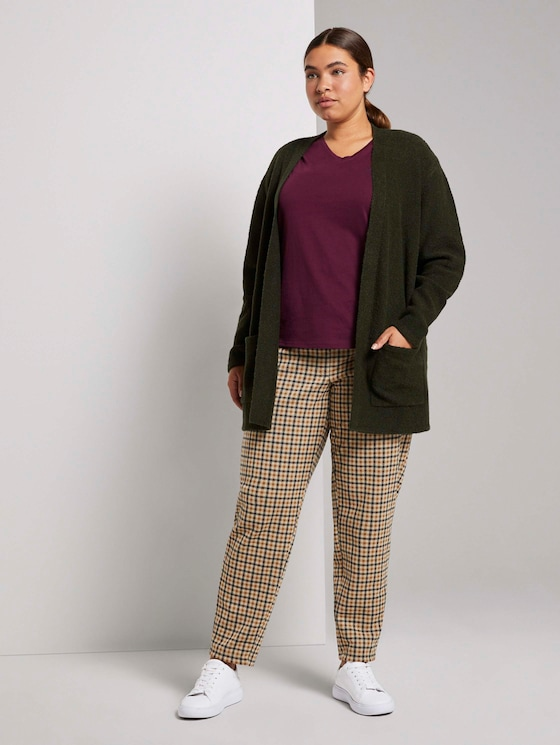 Plus - Karierte Stoffhose mit elastischem Bund - Frauen - beige brown check design - 3 - My True Me