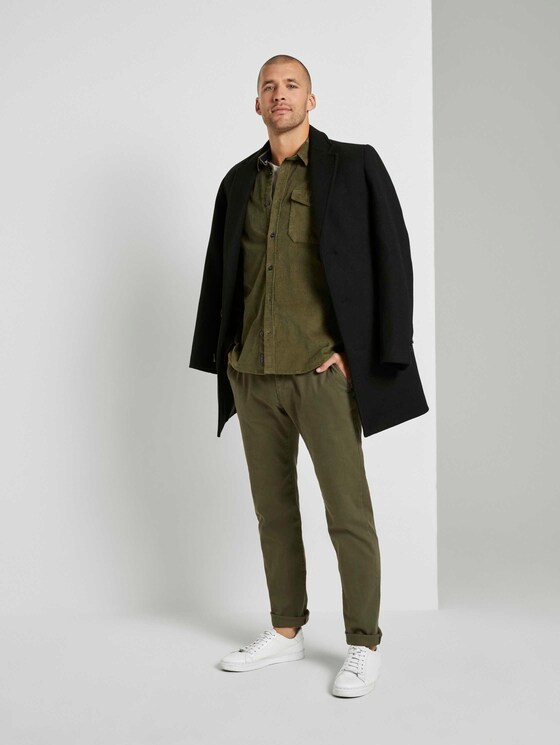 Strukturierte Chino Hose  - Männer - dusty wood green - 3 - TOM TAILOR