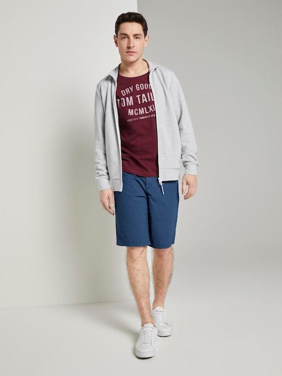 Morris Relaxed Chino-Shorts mit elastischem Bund - Männer - blue minimal square design - 3 - TOM TAILOR