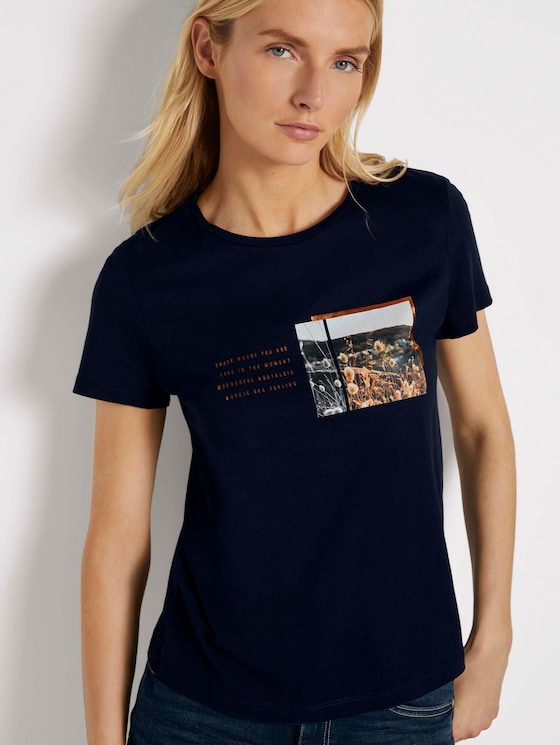 T-shirt with a chest print - Women - Sky Captain Blue - 5 - TOM TAILOR