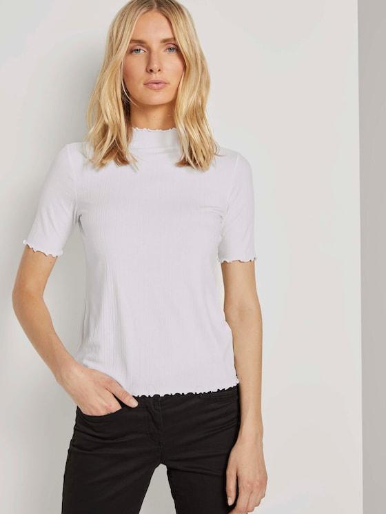 Geripptes T-Shirt mit Stehkragen - Frauen - Whisper White - 5 - TOM TAILOR