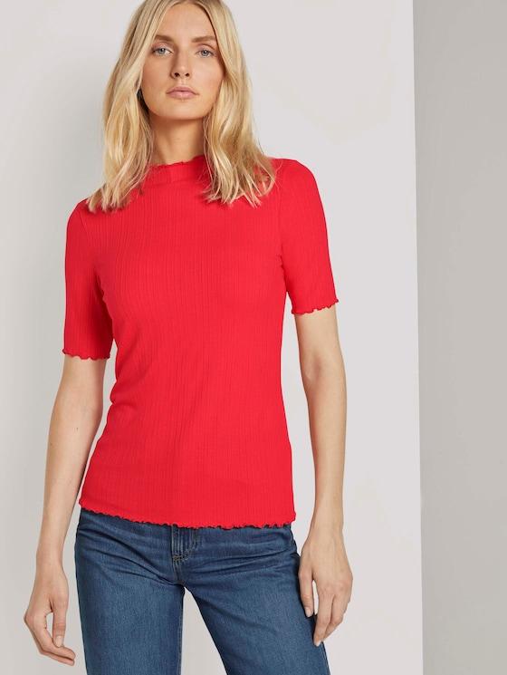Geripptes T-Shirt mit Stehkragen - Frauen - Strong Red - 5 - TOM TAILOR