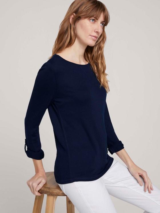 T-Shirt in Melange Optik - Frauen - Sky Captain Blue - 5 - TOM TAILOR