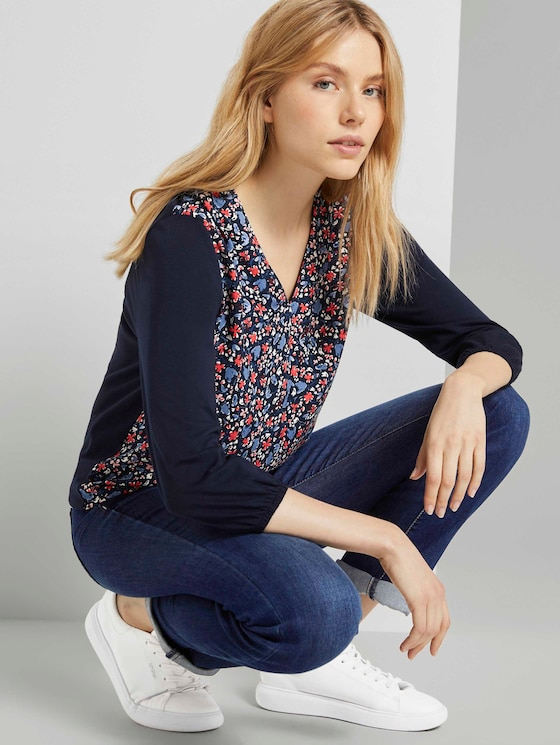 Gemustertes Shirt im Materialmix - Frauen - navy flower design - 5 - TOM TAILOR