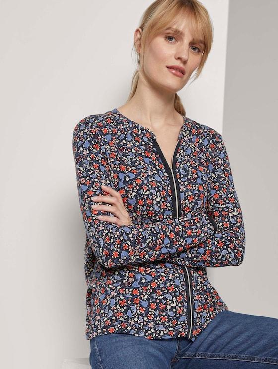 Gemustertes Henley-Shirt mit Tape-Einsatz - Frauen - navy flower design - 5 - TOM TAILOR