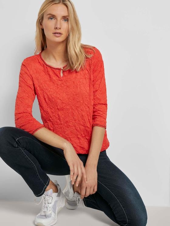 Crincle-Shirt mit elastischem Bund - Frauen - Strong Red - 5 - TOM TAILOR