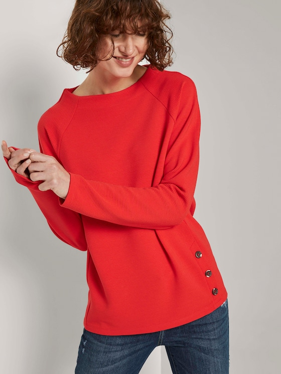 Sweatshirt mit Streifenstruktur und Raglan-Ärmeln - Frauen - Strong Red - 5 - TOM TAILOR