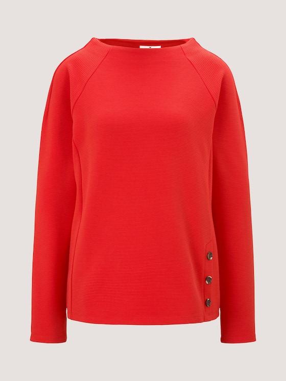Sweatshirt mit Streifenstruktur und Raglan-Ärmeln - Frauen - Strong Red - 7 - TOM TAILOR