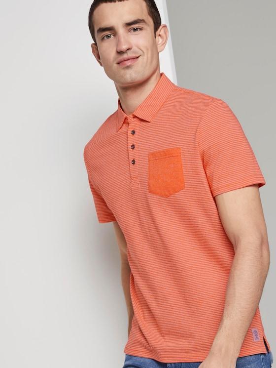 Gemustertes Poloshirt aus Jersey - Männer - orange mocktwist stripe - 5 - TOM TAILOR